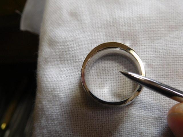 プラチナの指輪 バーニシング